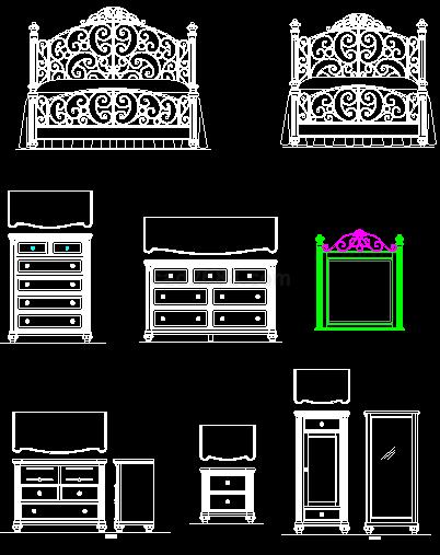 cad衣柜写字台素材