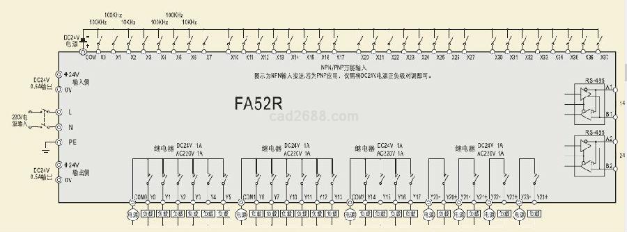 厦门精研可编程控制器PLC主机接线图PDF图纸