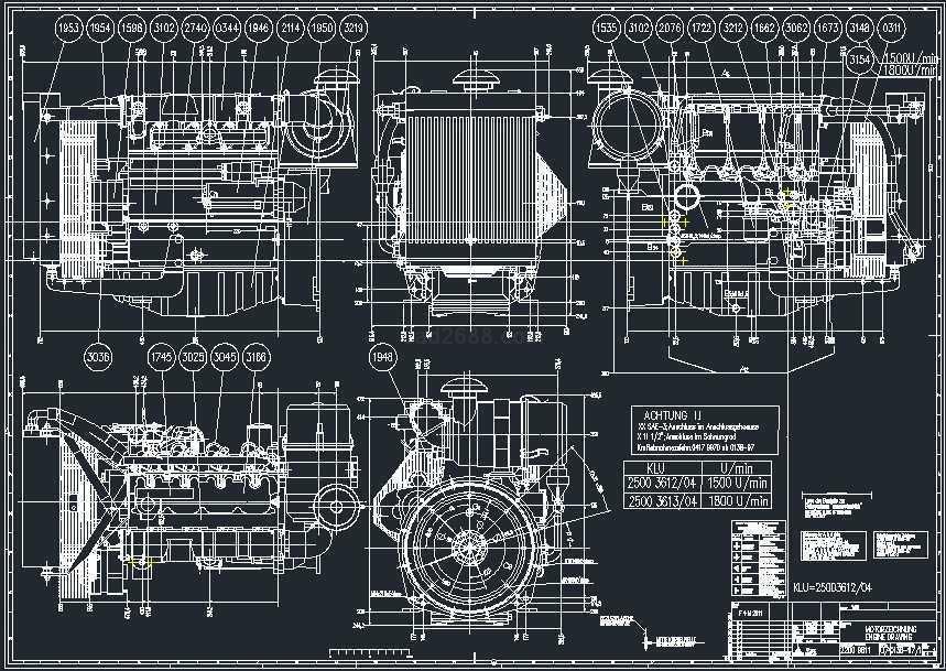 道依茨油冷式柴油发动机cad图纸