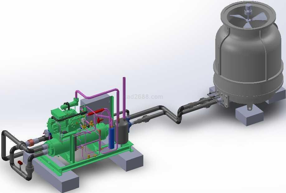 3d设计模型 化工 反应器  3d模型凝汽式机组与冷却塔solidworks设计